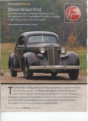 1937 STUDEBAKER PRESIDENT 8 CUSTOM COUPE 4 page COLOR Article