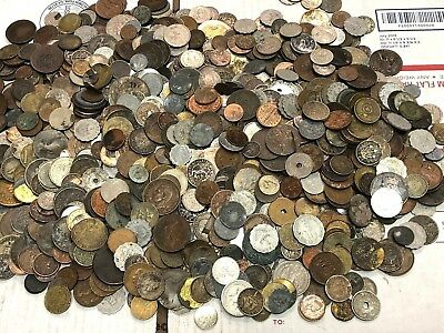 Huge 10 lbs of Damaged & Cull  FOREIGN / World Coins & US tokens WYSIWYG LOT #57