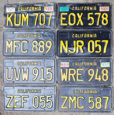 Eight 1963 base BLACK CALIFORNIA license plates various stickers ALL 4-1-bid