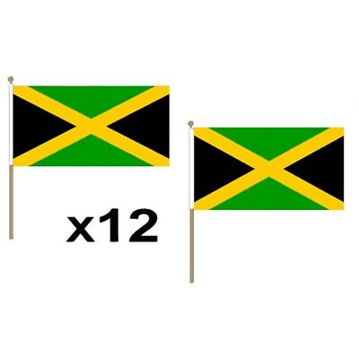 Jamaica 18x12 Hand Flags- 12 Pack