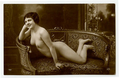 1910s French Beauty SMILING PRETTY Nude Beauty photo postcard