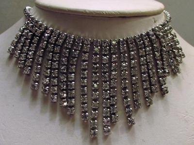 Vintage 40's Chunky Glass Crystal Rhinestone Drop Bib Necklace Clear Prong Set