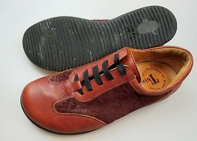 THINK! Red Embossed Leather Lace Up Latex Sole Shoes Women's EU 40 US 9