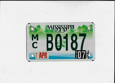 "MISSISSIPPI 2007 license plate ""B0187"" ***NATURAL***MOTORCYCLE***"