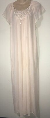 VTG Lorraine Long Embroidered Peach Nylon And Lace Nightgown L