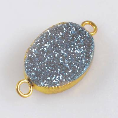 16x12mm Oval Natural Agate Titanium Druzy Connector Gold Plated H120730