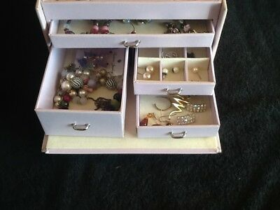 Collection Of Jewellery In Quality Large Jewellery Box With Key