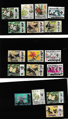 Malaysia - 13 used stamps on 3 stock cards