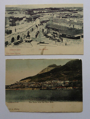 Gibraltar, The Markets, V.B. Cumbo, & Town From New Mole, Two Vintage Postcards.