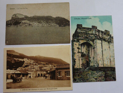 Gibraltar, Moorish Castle, From The Bay, & Waterport Gate, 3 Vintage Postcards.