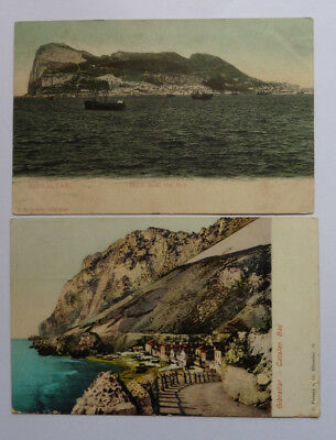 Gibraltar, Catalan Bay, 1908, & Rock From The Bay, Antique Postcards