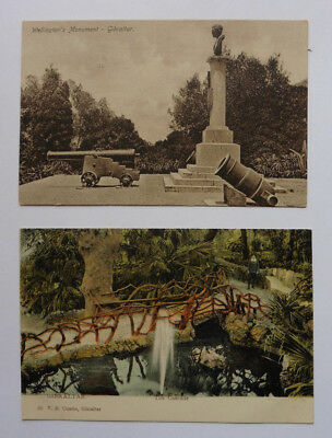 Gibraltar, Wellington's Monument, & The Cascade, Two Vintage Postcards.