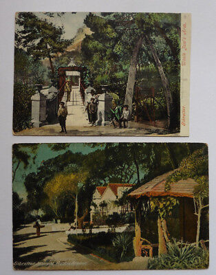 Gibraltar, Mameda Rustic Arbour, Whale Jaw's Arch, 1 3/4 Vintage Postcards.