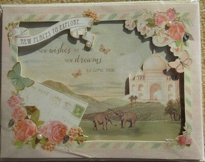 Clintons Birthday Card Large 3D India Elephants Travel Glitter Pearls Sealed New