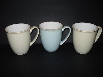 Denby 3 Assorted 1 Blue Linen & 2 Cream Linen Mugs