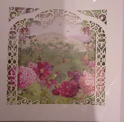 CLINTONS CARDS BIRTHDAY GARDEN  LASER CUT LARGE POP OUT CARD SEALED NEW glitter