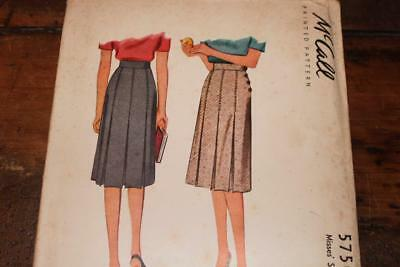 Vintage McCall Pattern #5750 Misses 1940's Pleated Skirt Waist Size 24 Uncut