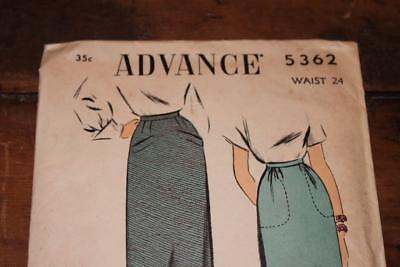 Vintage Advance Pattern #5362 Misses 1940's Pencil Skirt Waist Size 24 Uncut