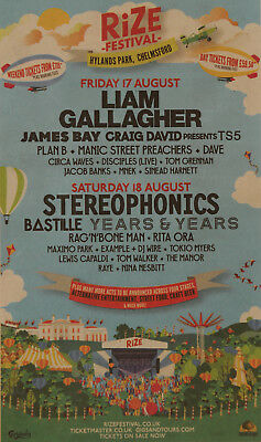 Rize Festival Chelmsford 2018 Advert  Liam Gallagher Stereophonics Years & Years