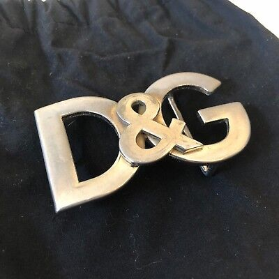 **Authentic Dolce & Gabbana D&G Logo Leather Belt with Removable Buckle in Black