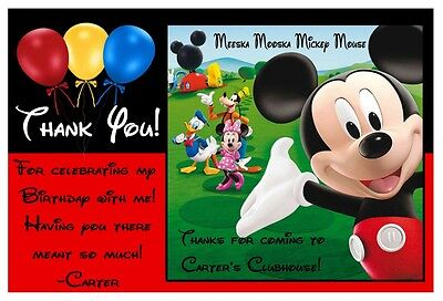 MICKEY MOUSE CLUBHOUSE BIRTHDAY THANK YOU CARDS ~ balloon design