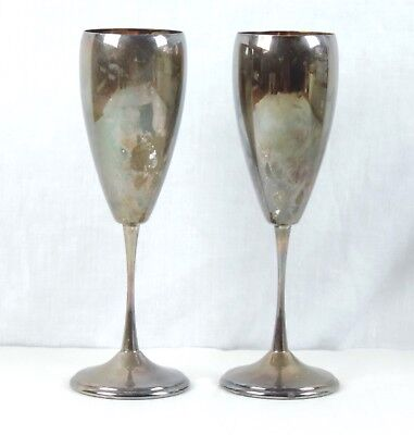 Pair of Vintage GREGGIO RINO .800 Silver Italian High Goblet Flute Cup Italy