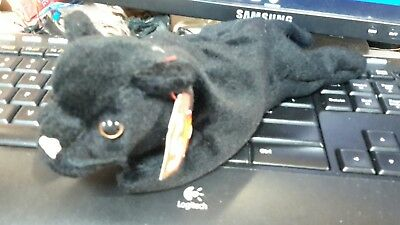 Vintage Ty Velvet the Black Panther Beanie Babies 4th generation hang, 3rd tush