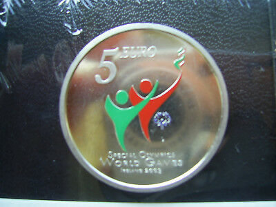 5 Euro Irland 2003 EIRE Special Olympics World Games farbig, 750er silber