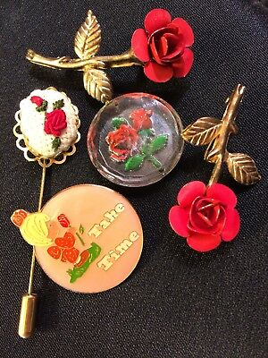 Vintage Brooch Lot Glass Reverse Intaglio Can, Roses, Take Time, Needlepoint Pin