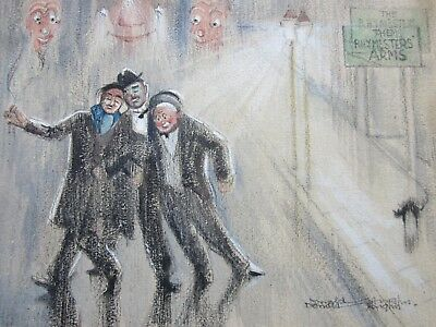 DONALD HUGHES (1881-1970) - QUIRKY Antique PAINTING - Signed - AMUSING Pub CRAWL