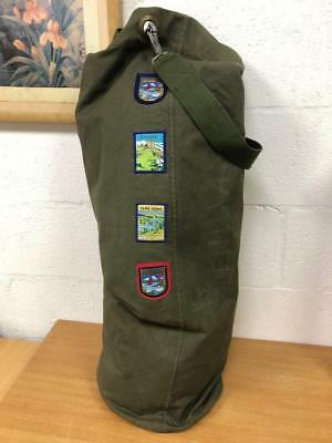 Vintage Military Army Duffle Bag Kit Bag Cargo Green Canvas Customised Patches
