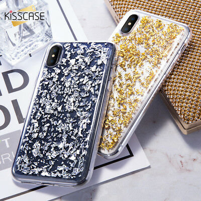 Bling Glitter Foil Stars Crystal Clear Rubber Shockproof Case Cover For iPhone