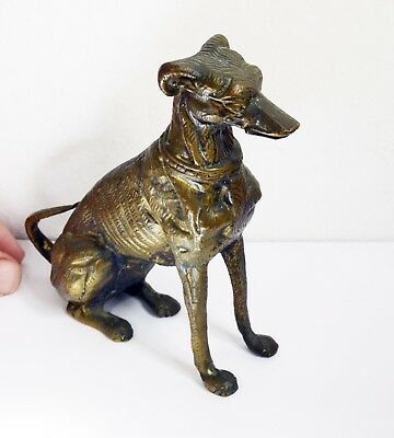 Gorgeous Weighty Vintage Cast Metal Dog Sculpture / Ornament - 14cm Height.