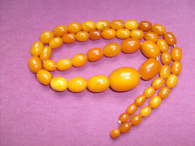 """Vintage BUTTERSCOTCH AMBER Graduated Bead Necklace - 28""""inches long -56 gram"""