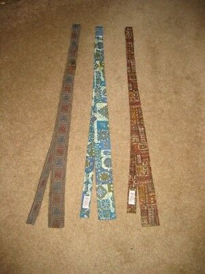Vintage Ernst 3 Skinny Neck-tie Rockabilly Liberty House Hawaiian Batik Ties