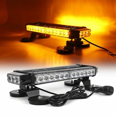 "16"" 30W LED Warn Emergency Beacon Roof Double Side Strobe Light Bar Amber Yellow"