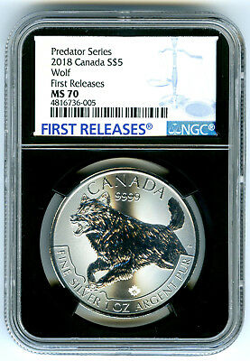 2018 $5 Canada 1 Oz Silver Wolf Ngc Ms70 Rare First Releases Black Core Holder