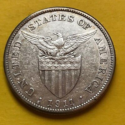 Us Philippines One Peso 1911-S Semi-Key Date Scarce #221