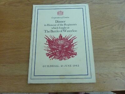 1965 Guildhall London Banquet Menu Regiments Which Fought At Battle Of Waterloo