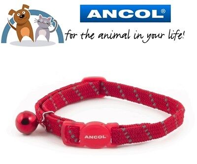 Ancol Elasticated Reflective Softweave Red Cat Collar With Safety Buckle & Bell