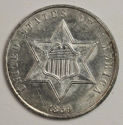 1859 3 Cent Silver.  Original B.U.  Nice Color Reverse.  116674