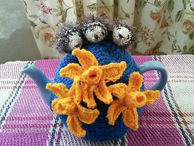 Hand Knitted Hedgehogs And Daffodils Tea Cosy/cozy/cosies/cozies. Brand New.