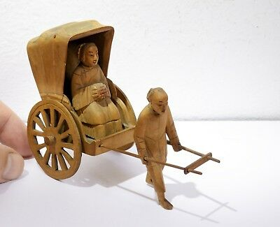 Superbly Hand Carved Vintage Wooden Oriental Rickshaw Carriage with Figures.