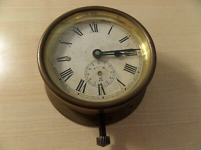 "Very Unusual Brass Cased Vintage Clock, Runs O.k. 3.75"" Dial 4.75"" Base"