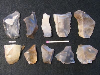 5400Y.o:10 Artifacts Danish Stone Age Neolithic Flint Patina! Megalith Tomb Cult