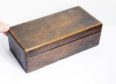 Charming Antique Well Made Wooden Narrow Box with Hinged Lid - 18.5 x 8.5 x 6cms