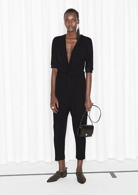 & Other Stories Stylish Chic Draped Black Jumpsuit. Size 34 8 S. Sport Luxe