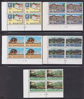 Mauritius 1970 Port Louis, Old and New - Five MNH Blocks of 4 - Cat £12 - (10)