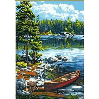 Paintsworks Paint By Numbers Canoe By The Lake - Works Number Kit 14x20