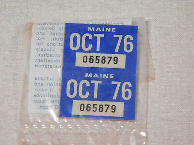 1976 Maine passenger car license plate sticker pair